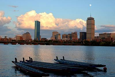 Hancock Building Digital Art - Moon Over The The Prudential On The Charles River by Toby McGuire