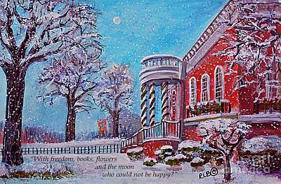 Waltham Painting - Moon Over The Waltham Library by Rita Brown