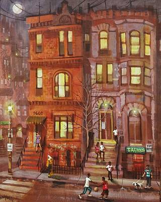 Chicago At Night Painting - Moon Over Third Street by Tom Shropshire