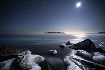 Silver Moonlight Photograph - Moon Over Thunder Bay From Silver Harbour by Jakub Sisak