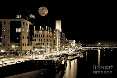 Nikki Vig Royalty-Free and Rights-Managed Images - Moon Over Titletown by Nikki Vig