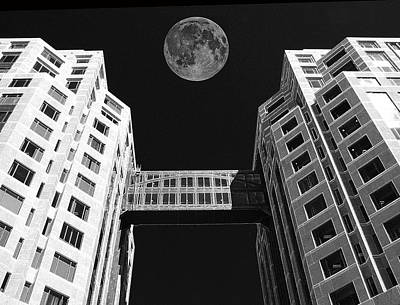 Moon Over Twin Towers Art Print