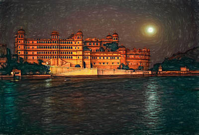 India Photograph - Moon Over Udaipur - Paint by Steve Harrington