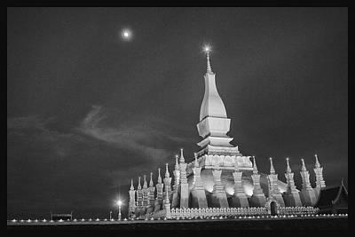 Digital Photograph - Moon Over Vientiane by David Longstreath