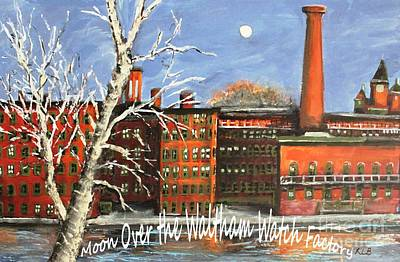 Waltham Painting - Moon Over Waltham Watch by Rita Brown