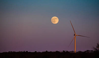 Photograph - Moon Over Wind Generator by Jennifer Kano
