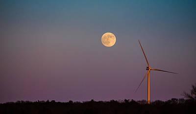 Moon Over Wind Generator Art Print