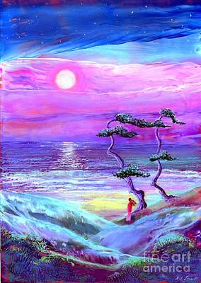 Moonlight Beach Painting - Moon Pathway,seascape by Jane Small