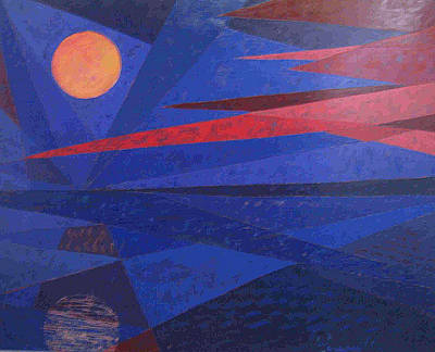 Print featuring the painting Moon Reflecting On A Lake by Walter Casaravilla