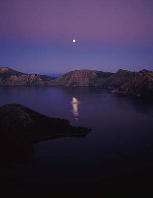 Crater Lake National Park Photograph - Moon Reflection In The Crater Lake by Panoramic Images