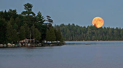 Art Print featuring the photograph Moon Rise At The Lake by Barbara West
