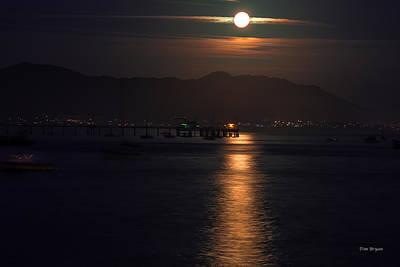 Photograph - Moon Rise Avila Beach by Tim Bryan
