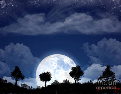 Digital Art - Moon Rise In The Hill Country by Thomas OGrady