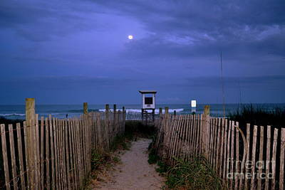 Moon Rise Over Wrightsville Beach Original by Amy Lucid