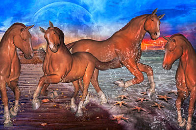 Animals Digital Art - Moon Rise Splendor by Betsy Knapp