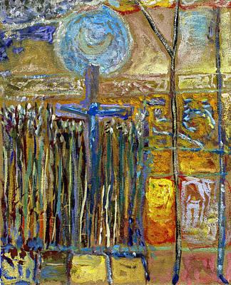 Moon Rising Above The Cross Amongst The Corn 1914-18 Original