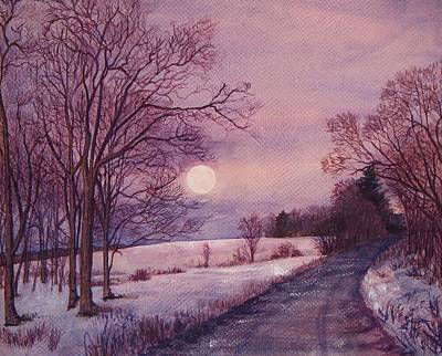 Snowy Night Painting - Moon Rising by Joy Nichols