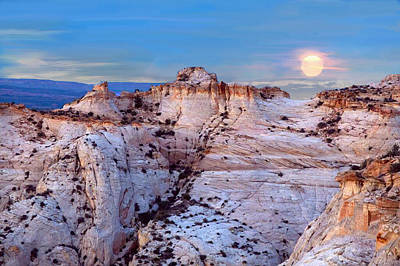The Plateaus Digital Art - Moon Rising Over Escalante Staircase by Bob and Nadine Johnston