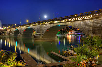 Photograph - Moon Rising Over The London Bridge by Eddie Yerkish