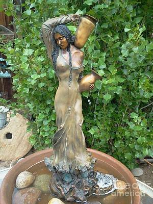 Yvonne Cacy Sculpture - Moon River Maiden by Yvonne Cacy