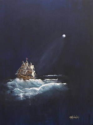 Painting - Moon Sailing by Miroslaw  Chelchowski