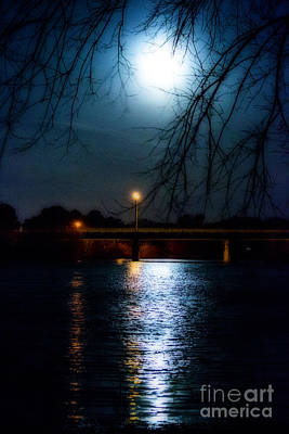 Photograph - Moon Set Lake Pleasurehouse by Angela DeFrias