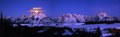 Photograph - Moon Sets Over Behind The Tetons Panorama by Raymond Salani III