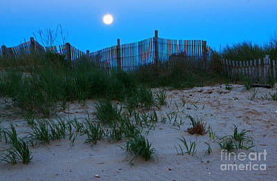Moon Setting At Beach Plum Island Art Print by Robert Pilkington