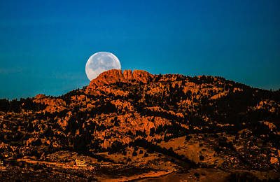 Moon Setting Behind Horsetooth Rock At Sunrise Art Print by Harry Strharsky