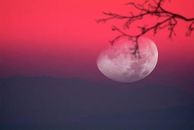 Moon Setting Behind Mountains Art Print