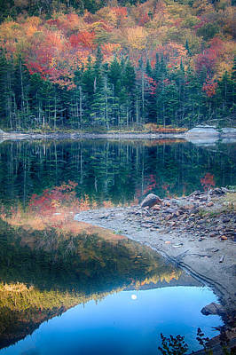 Moon Setting Fall Foliage Reflection Art Print by Jeff Folger
