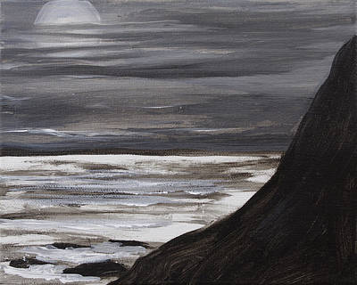 Acclaim Painting - Moon Setting Over Big Sur by David  Seacord