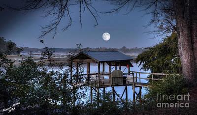 Caravaggio - Moon Setting Over Toogoodoo River by Aaron  Shortt