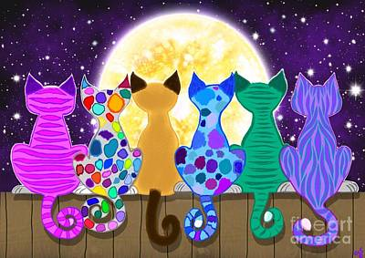 Kittens Digital Art - Moon Shadow Meow by Nick Gustafson