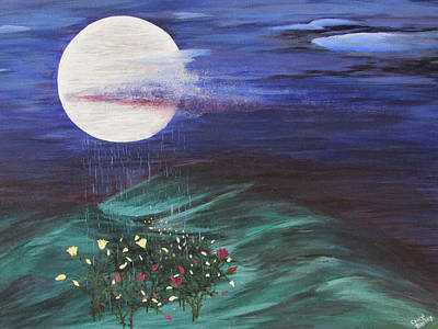 Art Print featuring the painting Moon Showers by Cheryl Bailey