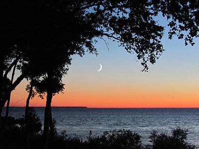 Moon Sliver At Sunset Art Print by David T Wilkinson