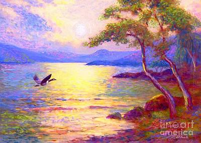Moonlight Beach Painting -  Wild Goose, Moon Song by Jane Small