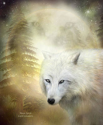 Moon Spirit 1 - White Wolf - Golden Art Print by Carol Cavalaris