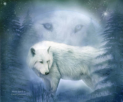 Moon Spirit 2 - White Wolf - Blue Art Print by Carol Cavalaris