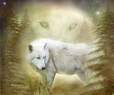 Moon Spirit 2 - White Wolf - Golden Art Print by Carol Cavalaris