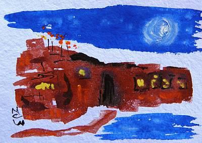 Moon Stars Steel Mill Art Print by Mary Carol Williams