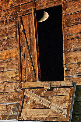 Moon Through The Barn Door Art Print