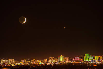 Moon-venus Over Reno Art Print by Janis Knight