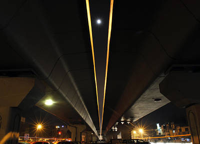 Photograph - Moon Visible Between The Flyover Gap by Sumit Mehndiratta