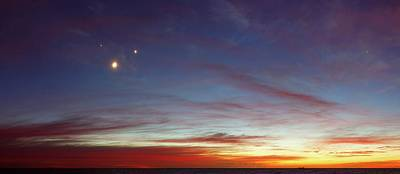 Trio Photograph - Moon With Jupiter And Venus by Luis Argerich