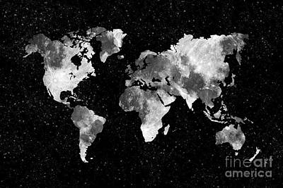 Moon World Map Art Print by Delphimages Photo Creations