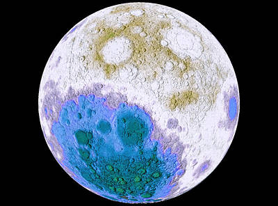 Solar System Photograph - Moon Worldwind Nasa Infrared View by Celestial Images