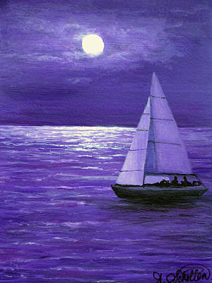 Sailing At Night Painting - Moonbeam Ripples Across The Tide by Amy Scholten