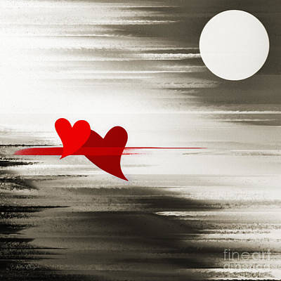 Andee Design Red Digital Art - Moonlight And In Love by Andee Design