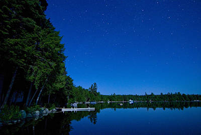 Photograph - Moonlight And Stars At The Lake by Barbara West
